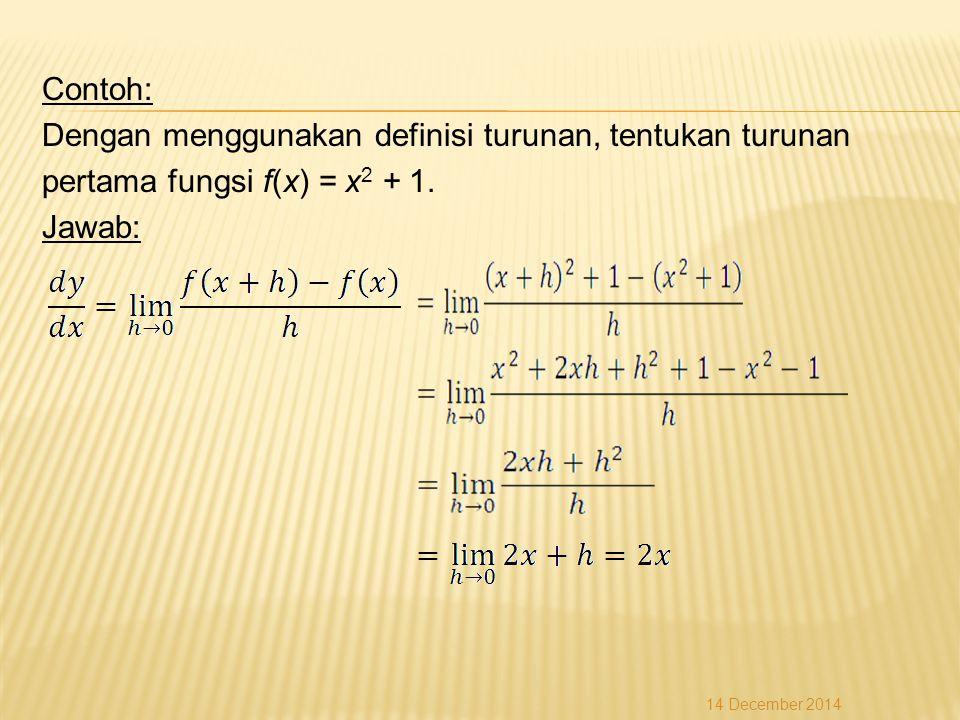 Contoh: Dengan menggunakan definisi turunan, tentukan turunan pertama fungsi f(x) = x 2 + 1.