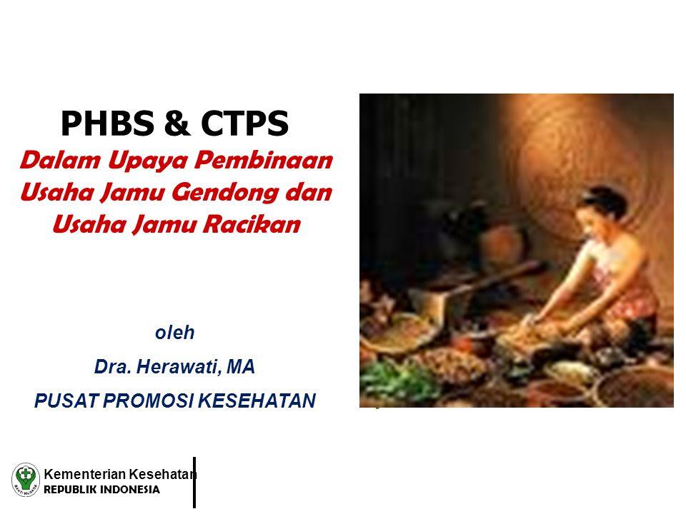 PHBS & CTPS Dalam Upaya Pembinaan Usaha Jamu Gendong dan Usaha Jamu Racikan. Kementerian Kesehatan REPUBLIK INDONESIA oleh Dra. Herawati, MA PUSAT PRO