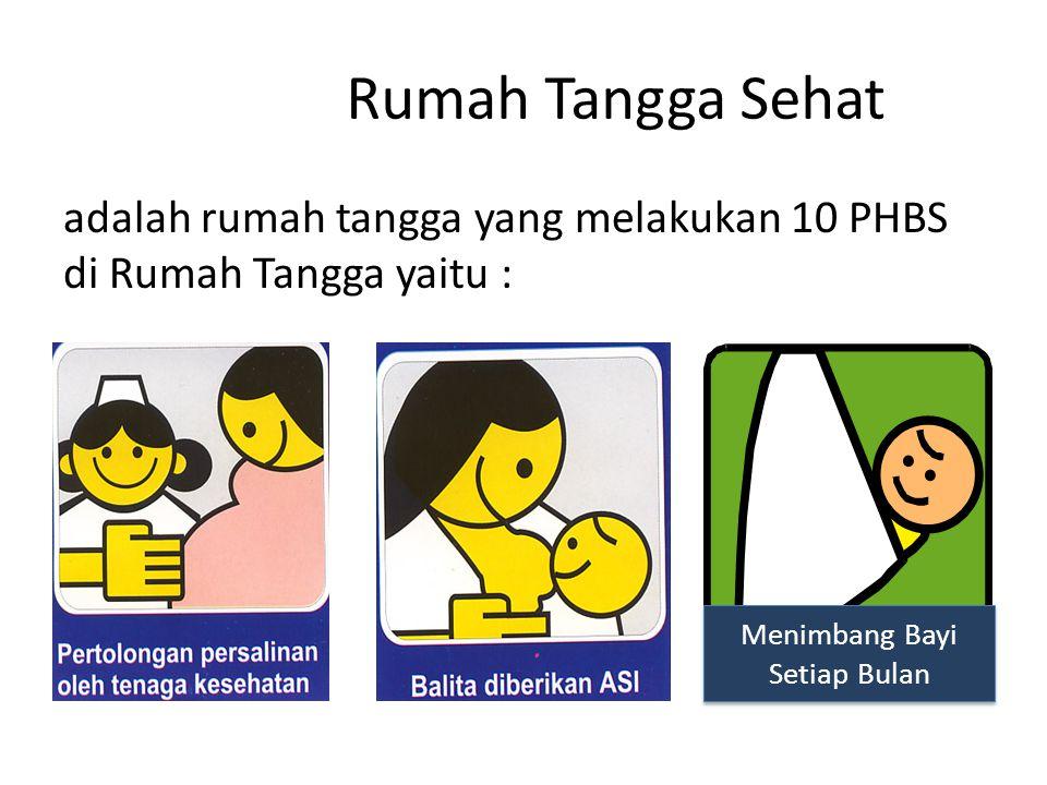 Rumah Tangga Sehat adalah rumah tangga yang melakukan 10 PHBS di Rumah Tangga yaitu : Menimbang Bayi Setiap Bulan