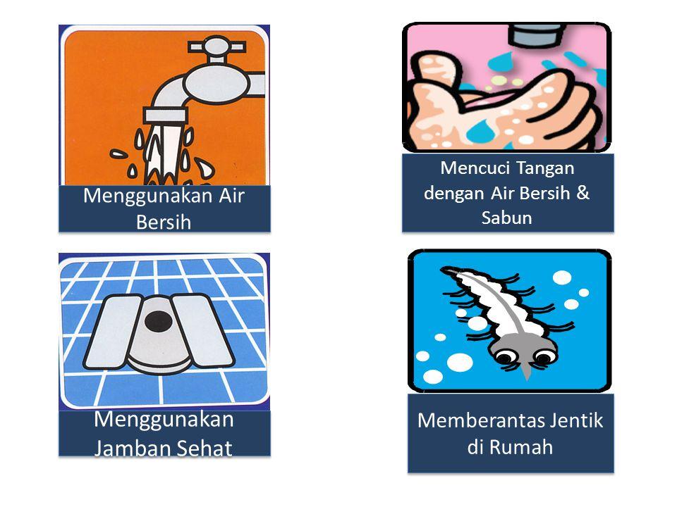 Menggunakan Air Bersih Menggunakan Jamban Sehat Mencuci Tangan dengan Air Bersih & Sabun Memberantas Jentik di Rumah