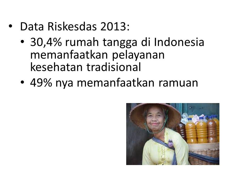 Data Riskesdas 2013: 30,4% rumah tangga di Indonesia memanfaatkan pelayanan kesehatan tradisional 49% nya memanfaatkan ramuan