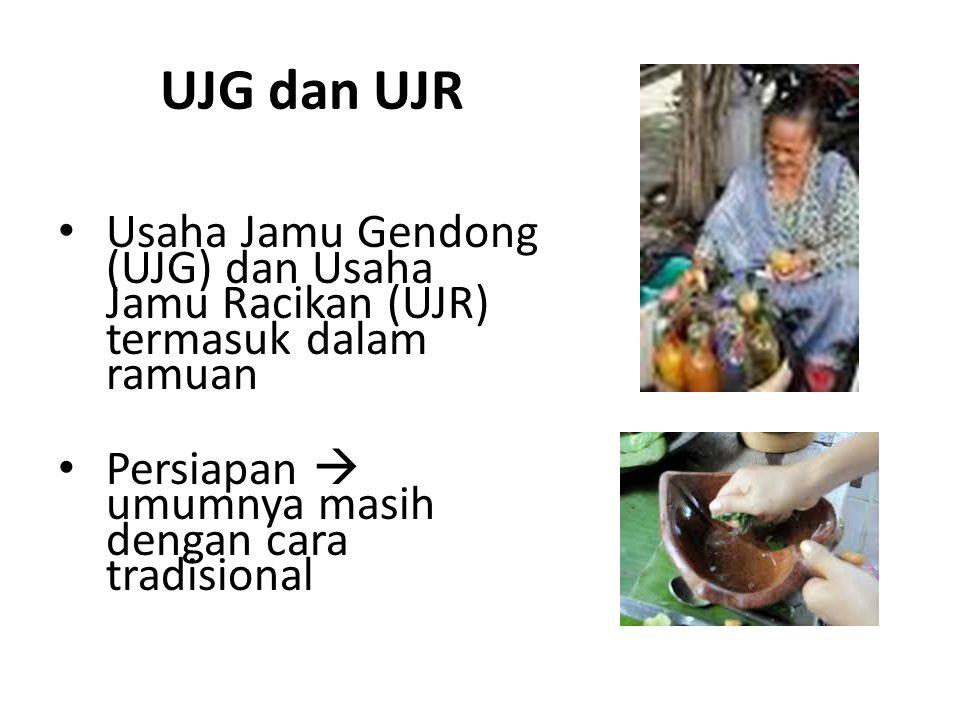 UJG dan UJR Usaha Jamu Gendong (UJG) dan Usaha Jamu Racikan (UJR) termasuk dalam ramuan Persiapan  umumnya masih dengan cara tradisional