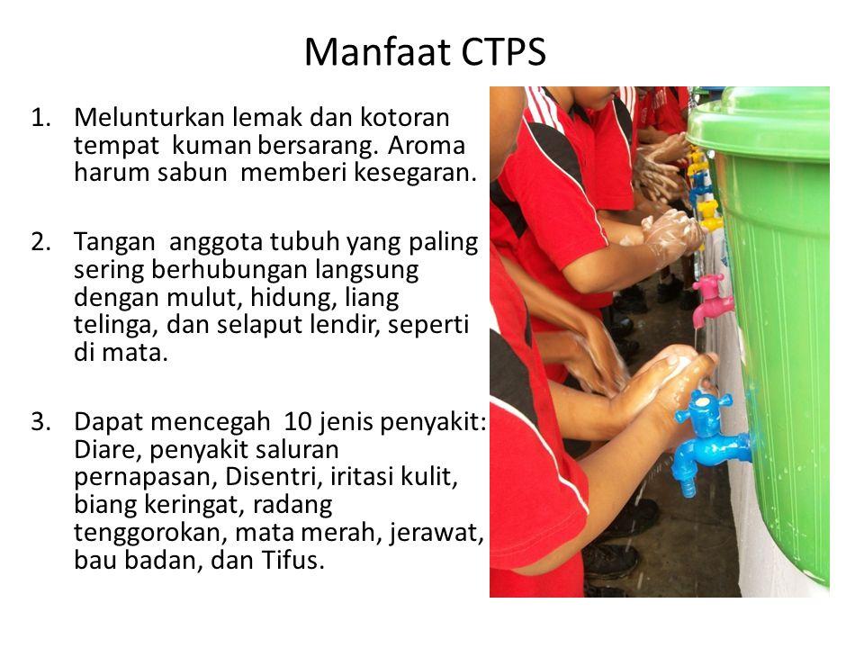 Manfaat CTPS 1.Melunturkan lemak dan kotoran tempat kuman bersarang. Aroma harum sabun memberi kesegaran. 2.Tangan anggota tubuh yang paling sering be