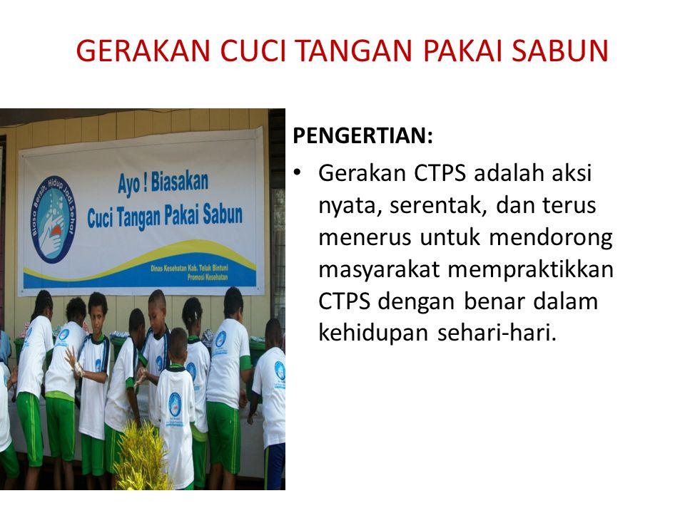 PENGERTIAN: Gerakan CTPS adalah aksi nyata, serentak, dan terus menerus untuk mendorong masyarakat mempraktikkan CTPS dengan benar dalam kehidupan sehari-hari.
