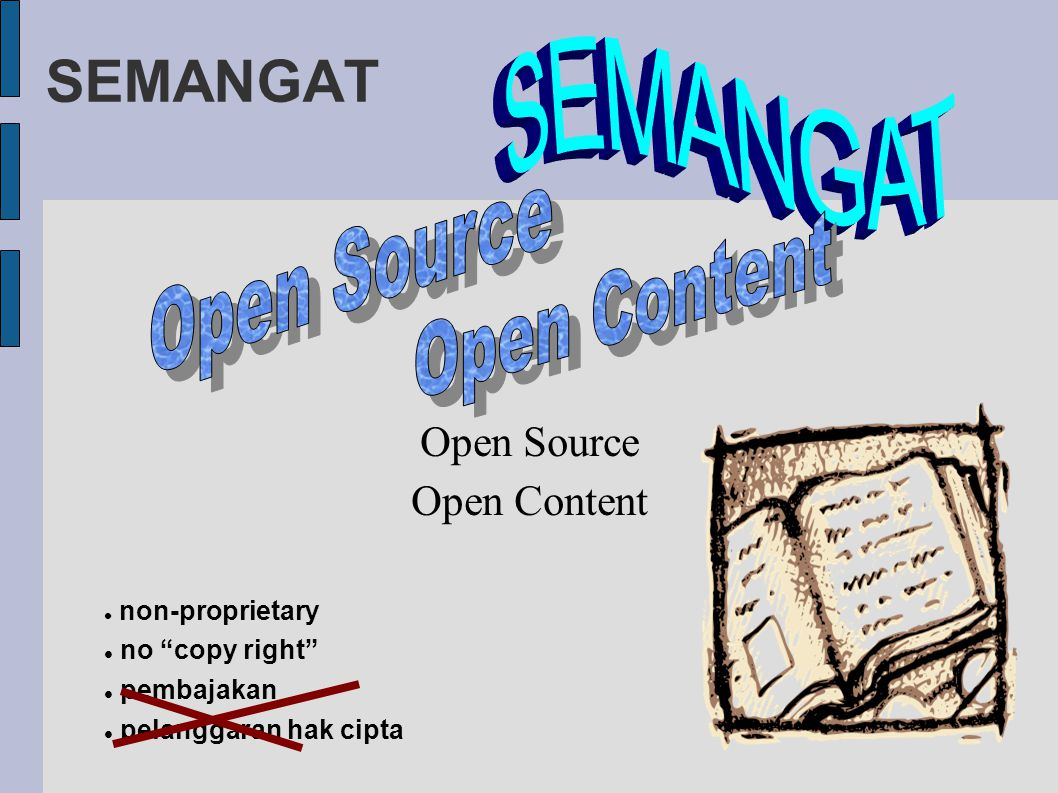 "SEMANGAT Open Source Open Content non-proprietary no ""copy right"" pembajakan pelanggaran hak cipta"