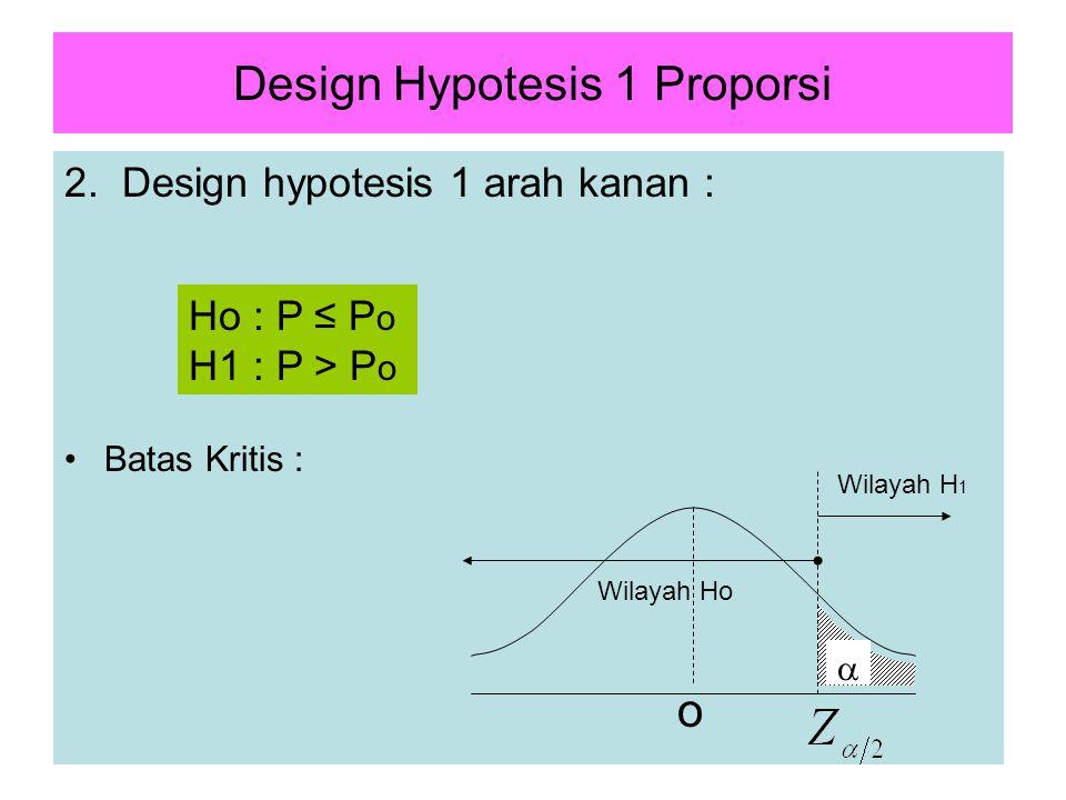 4 Design Hypotesis 1 Proporsi 2. Design hypotesis 1 arah kanan : Batas Kritis : Ho : P ≤ P o H1 : P > P o  o Wilayah Ho Wilayah H 1