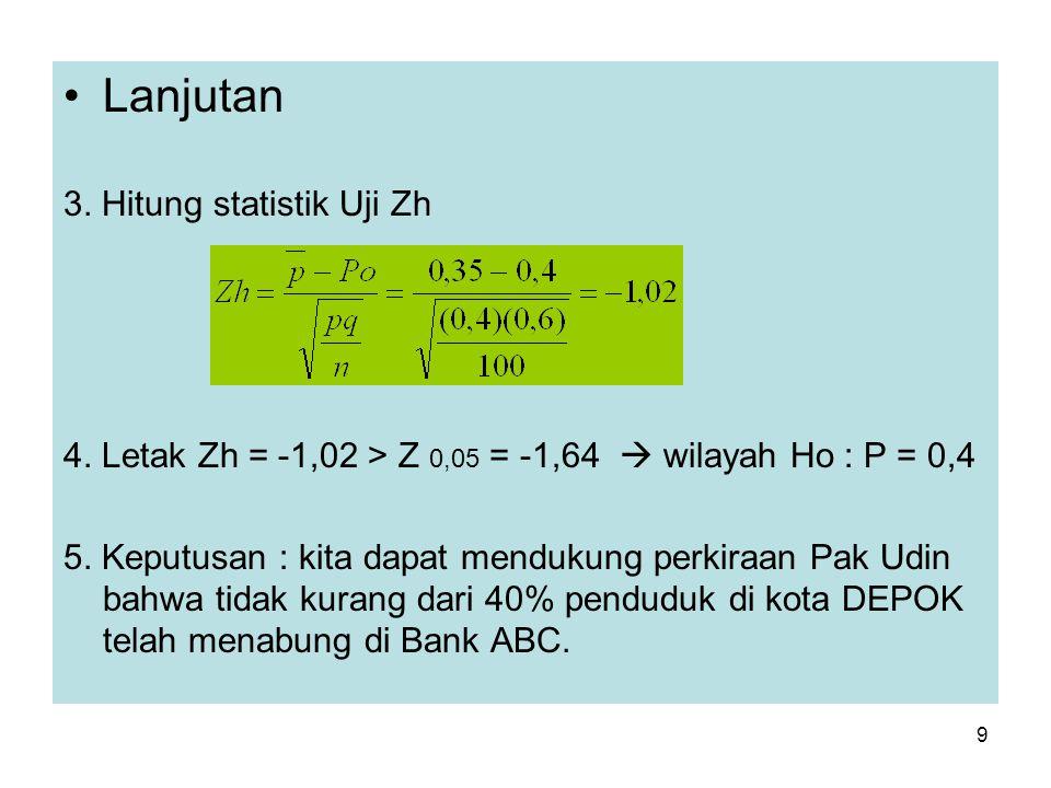 9 Lanjutan 3. Hitung statistik Uji Zh 4. Letak Zh = -1,02 > Z 0,05 = -1,64  wilayah Ho : P = 0,4 5. Keputusan : kita dapat mendukung perkiraan Pak Ud