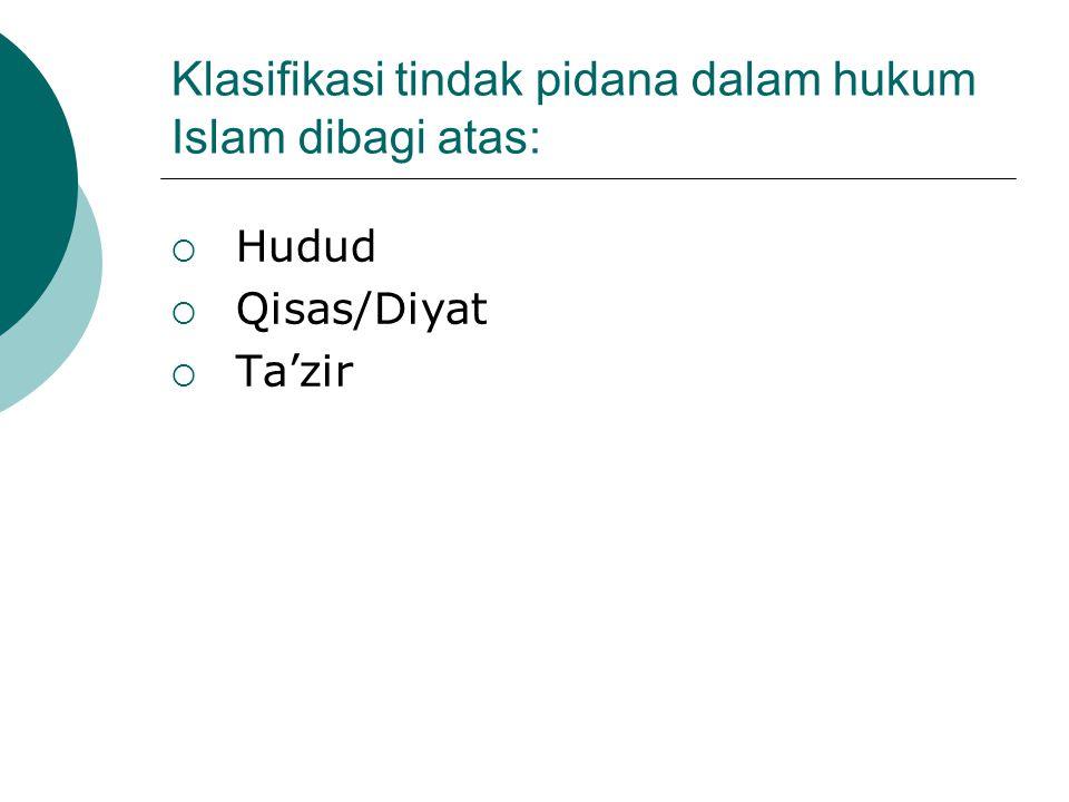 Klasifikasi tindak pidana dalam hukum Islam dibagi atas:  Hudud  Qisas/Diyat  Ta'zir