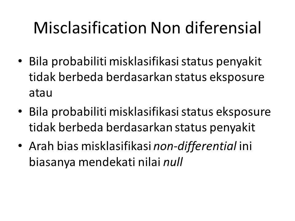 Misclasification Non diferensial Bila probabiliti misklasifikasi status penyakit tidak berbeda berdasarkan status eksposure atau Bila probabiliti misk