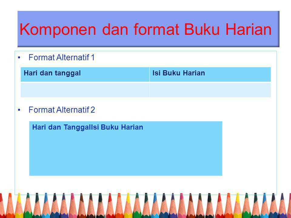 Komponen dan format Buku Harian Format Alternatif 1 Format Alternatif 2 Hari dan tanggalIsi Buku Harian Hari dan TanggalIsi Buku Harian