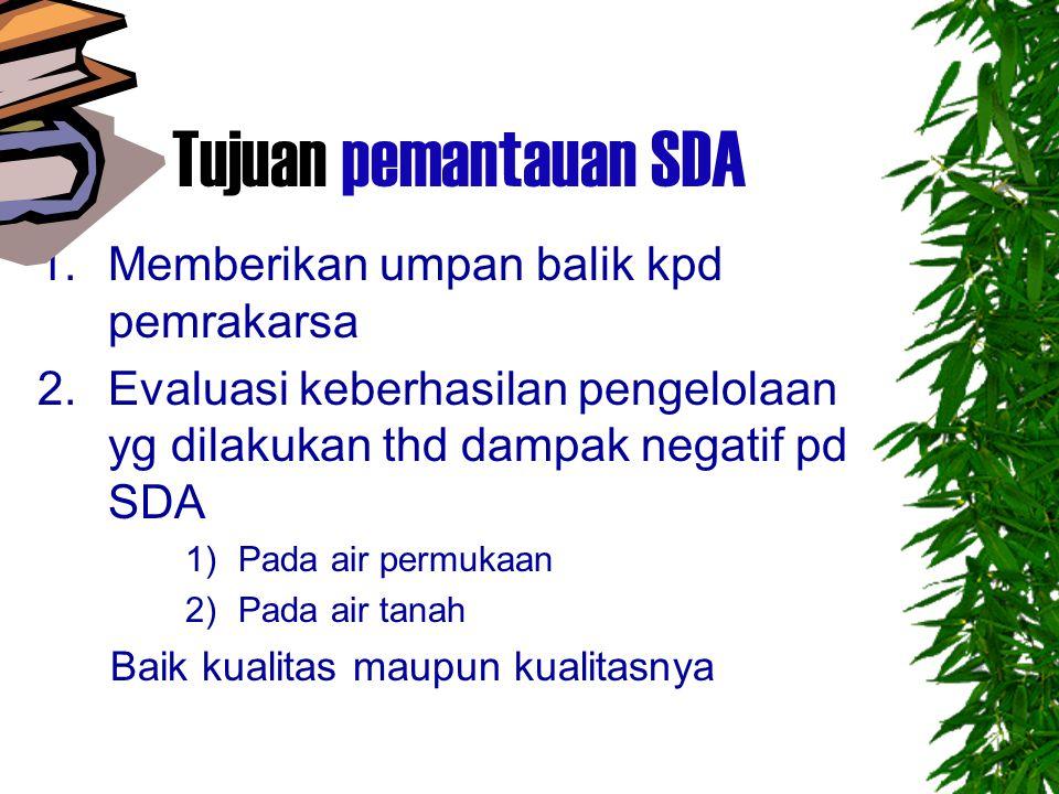 Tujuan pemantauan SDA 1.Memberikan umpan balik kpd pemrakarsa 2.Evaluasi keberhasilan pengelolaan yg dilakukan thd dampak negatif pd SDA 1)Pada air permukaan 2)Pada air tanah Baik kualitas maupun kualitasnya