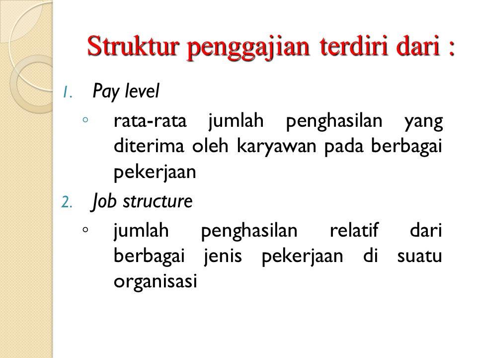 Struktur penggajian terdiri dari : 1. Pay level ◦ rata-rata jumlah penghasilan yang diterima oleh karyawan pada berbagai pekerjaan 2. Job structure ◦