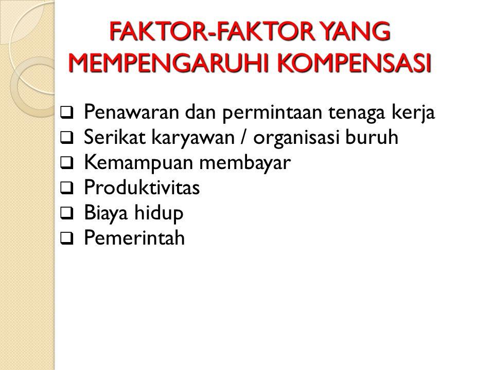 FAKTOR-FAKTOR YANG MEMPENGARUHI KOMPENSASI  Penawaran dan permintaan tenaga kerja  Serikat karyawan / organisasi buruh  Kemampuan membayar  Produk