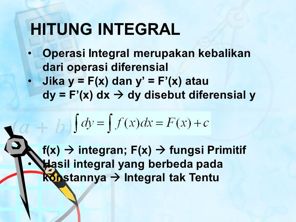 HITUNG INTEGRAL Operasi Integral merupakan kebalikan dari operasi diferensial Jika y = F(x) dan y' = F'(x) atau dy = F'(x) dx  dy disebut diferensial