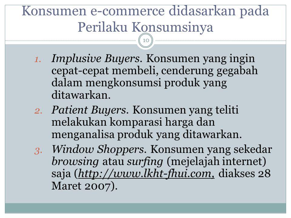 Konsumen e-commerce didasarkan pada Perilaku Konsumsinya 1.