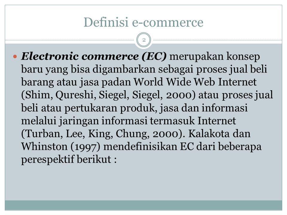 Definisi e-commerce Electronic commerce (EC) merupakan konsep baru yang bisa digambarkan sebagai proses jual beli barang atau jasa padan World Wide Web Internet (Shim, Qureshi, Siegel, Siegel, 2000) atau proses jual beli atau pertukaran produk, jasa dan informasi melalui jaringan informasi termasuk Internet (Turban, Lee, King, Chung, 2000).