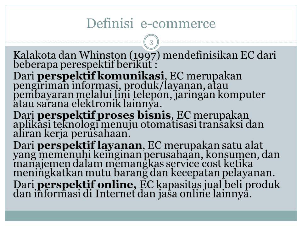 Definisi e-commerce Kalakota dan Whinston (1997) mendefinisikan EC dari beberapa perespektif berikut : Dari perspektif komunikasi, EC merupakan pengiriman informasi, produk/layanan, atau pembayaran melalui lini telepon, jaringan komputer atau sarana elektronik lainnya.