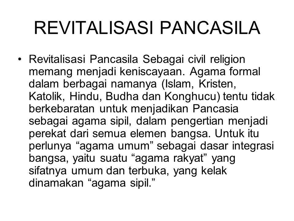 REVITALISASI PANCASILA Revitalisasi Pancasila Sebagai civil religion memang menjadi keniscayaan.