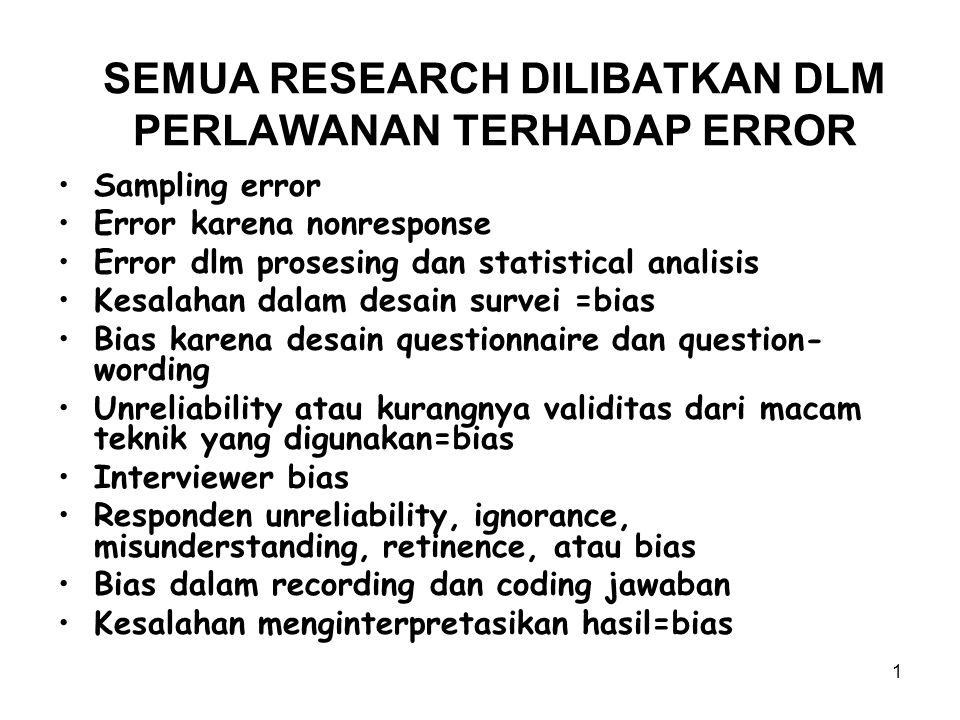 1 SEMUA RESEARCH DILIBATKAN DLM PERLAWANAN TERHADAP ERROR Sampling error Error karena nonresponse Error dlm prosesing dan statistical analisis Kesalah