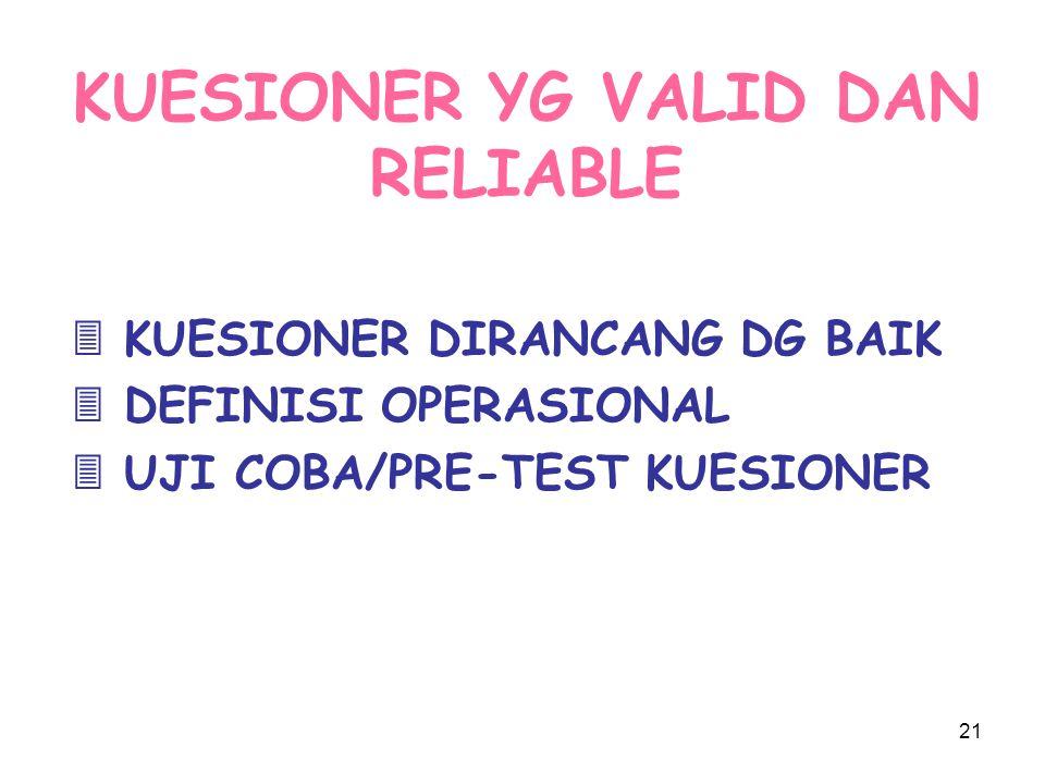 21 KUESIONER YG VALID DAN RELIABLE  KUESIONER DIRANCANG DG BAIK  DEFINISI OPERASIONAL  UJI COBA/PRE-TEST KUESIONER