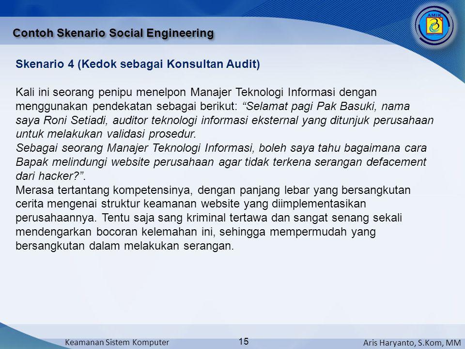 Aris Haryanto, S.Kom, MM Keamanan Sistem Komputer 15 Contoh Skenario Social Engineering Skenario 4 (Kedok sebagai Konsultan Audit) Kali ini seorang pe