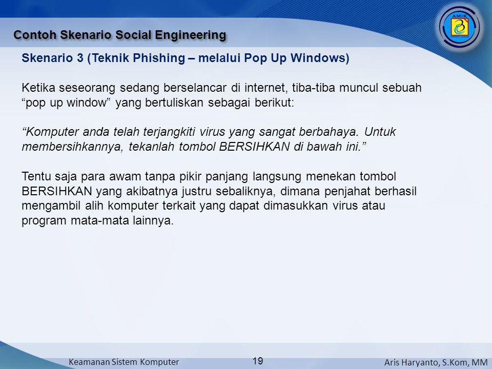 Aris Haryanto, S.Kom, MM Keamanan Sistem Komputer 19 Contoh Skenario Social Engineering Skenario 3 (Teknik Phishing – melalui Pop Up Windows) Ketika s