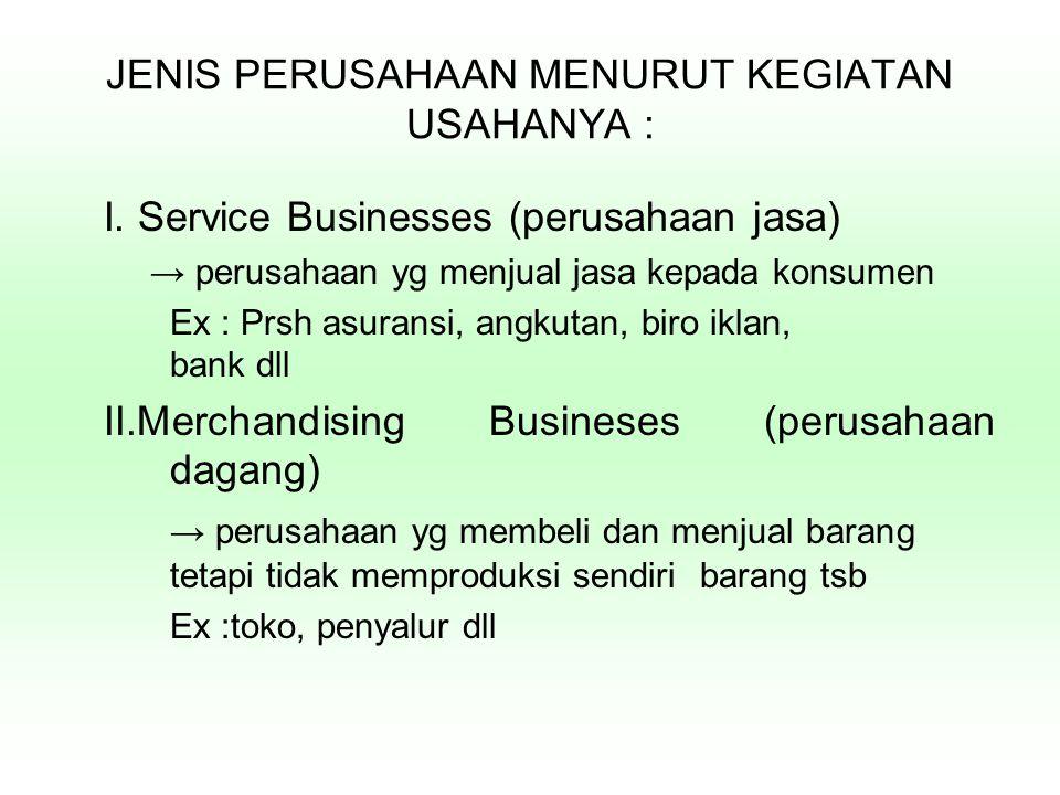 JENIS PERUSAHAAN MENURUT KEGIATAN USAHANYA : I. Service Businesses (perusahaan jasa) → perusahaan yg menjual jasa kepada konsumen Ex : Prsh asuransi,