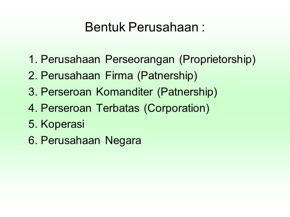 Bentuk Perusahaan : 1. Perusahaan Perseorangan (Proprietorship) 2. Perusahaan Firma (Patnership) 3. Perseroan Komanditer (Patnership) 4. Perseroan Ter
