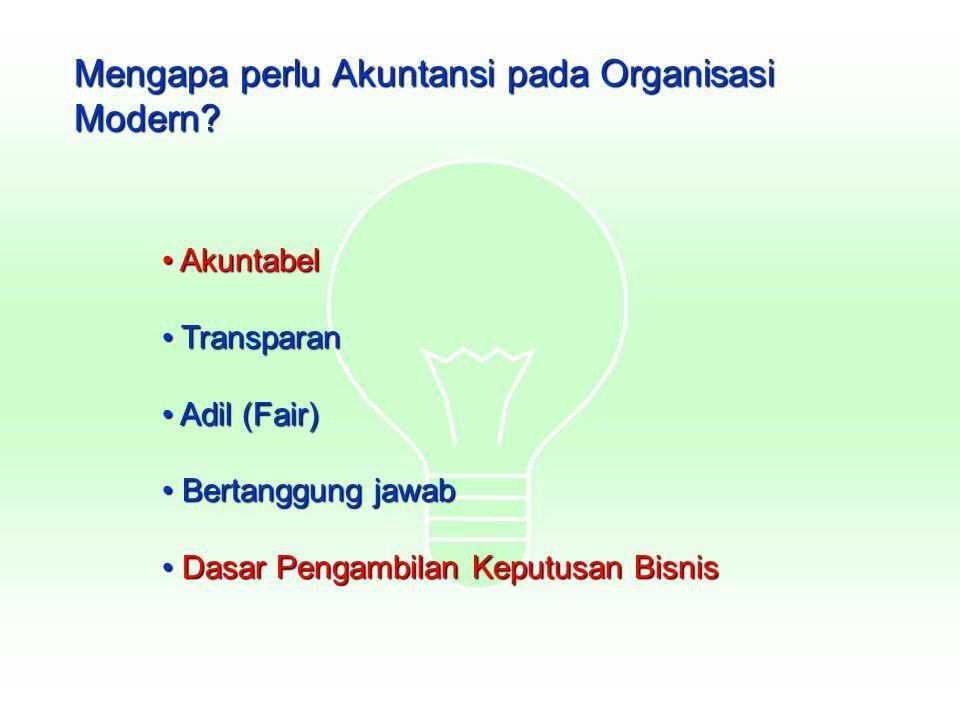 Mengapa perlu Akuntansi pada Organisasi Modern? Akuntabel Akuntabel Transparan Transparan Adil (Fair) Adil (Fair) Bertanggung jawab Bertanggung jawab