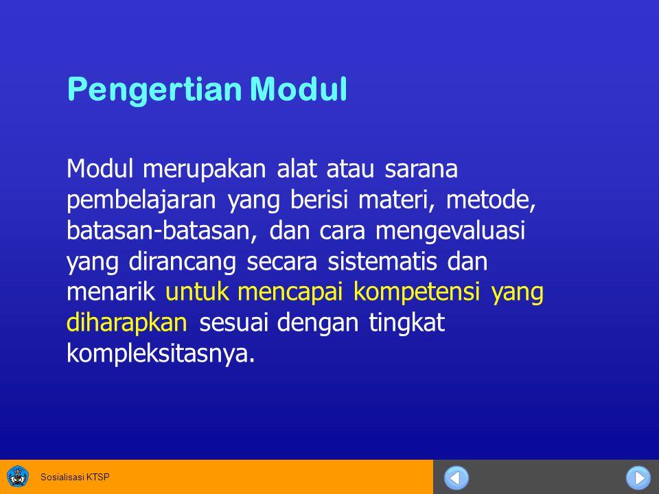 Modul merupakan alat atau sarana pembelajaran yang berisi materi, metode, batasan-batasan, dan cara mengevaluasi yang dirancang secara sistematis dan