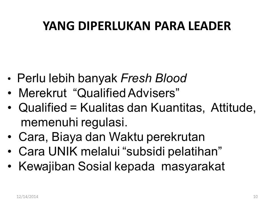 YANG DIPERLUKAN PARA LEADER Perlu lebih banyak Fresh Blood Merekrut Qualified Advisers Qualified = Kualitas dan Kuantitas, Attitude, memenuhi regulasi.