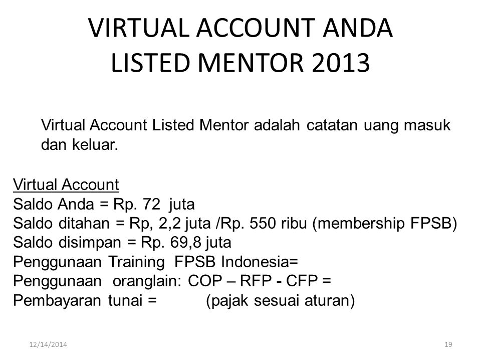 VIRTUAL ACCOUNT ANDA LISTED MENTOR 2013 12/14/201419 Virtual Account Listed Mentor adalah catatan uang masuk dan keluar. Virtual Account Saldo Anda =