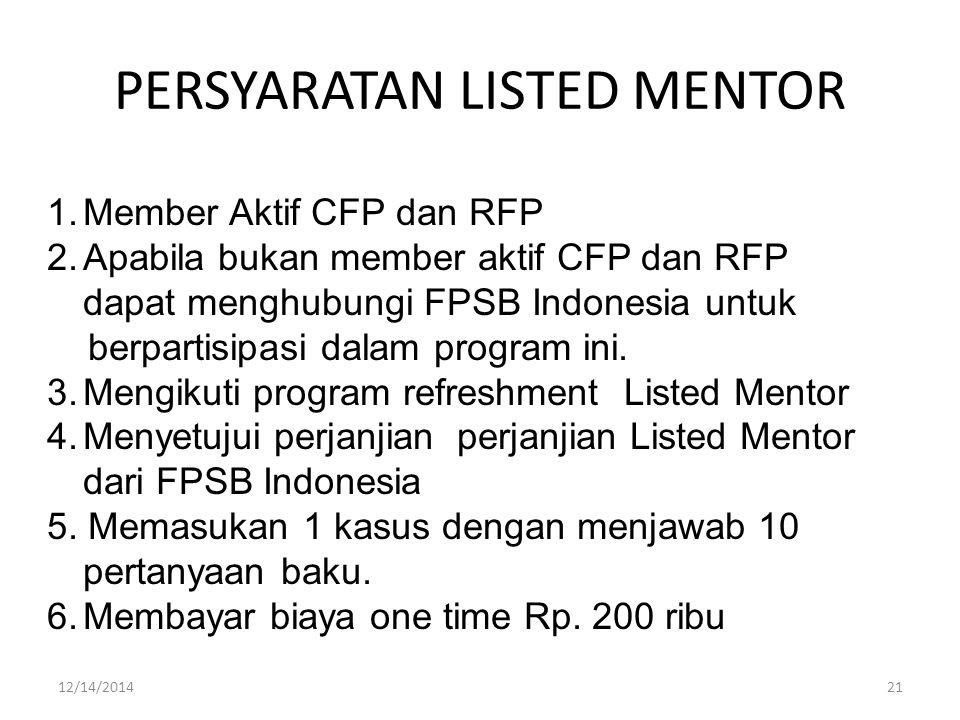 PERSYARATAN LISTED MENTOR 1.Member Aktif CFP dan RFP 2.Apabila bukan member aktif CFP dan RFP dapat menghubungi FPSB Indonesia untuk berpartisipasi dalam program ini.