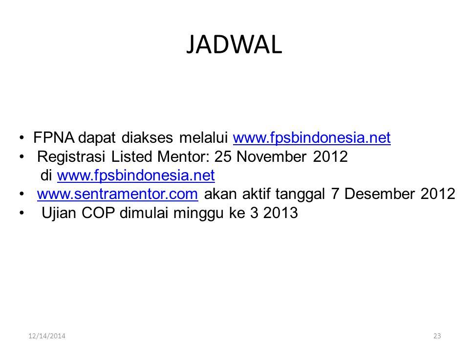 JADWAL FPNA dapat diakses melalui www.fpsbindonesia.netwww.fpsbindonesia.net Registrasi Listed Mentor: 25 November 2012 di www.fpsbindonesia.netwww.fpsbindonesia.net www.sentramentor.com akan aktif tanggal 7 Desember 2012www.sentramentor.com Ujian COP dimulai minggu ke 3 2013 2312/14/2014