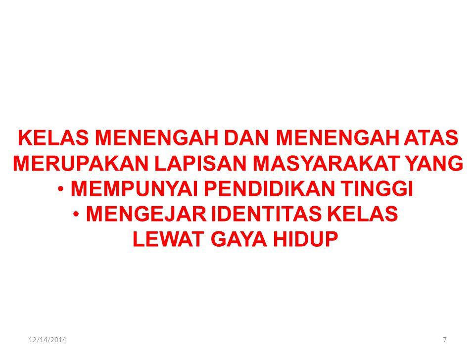 KELAS MENENGAH DAN MENENGAH ATAS MERUPAKAN LAPISAN MASYARAKAT YANG MEMPUNYAI PENDIDIKAN TINGGI MENGEJAR IDENTITAS KELAS LEWAT GAYA HIDUP 712/14/2014