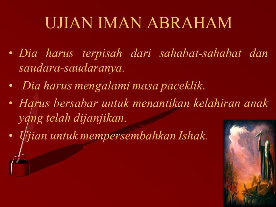 Untuk menguji ketergantungan Abraham kepada Allah dan untuk melihat apakah dia memang sepenuhnya yakin terhadap janji dan jaminan Allah, maka dia perl