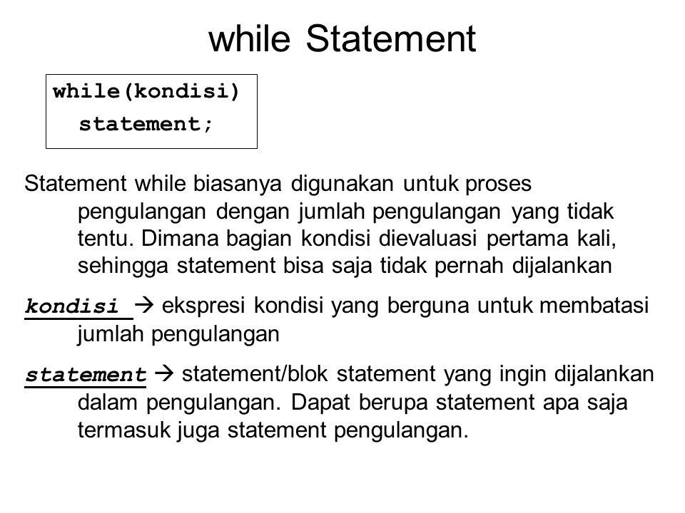 while Statement while(kondisi) statement; Statement while biasanya digunakan untuk proses pengulangan dengan jumlah pengulangan yang tidak tentu.