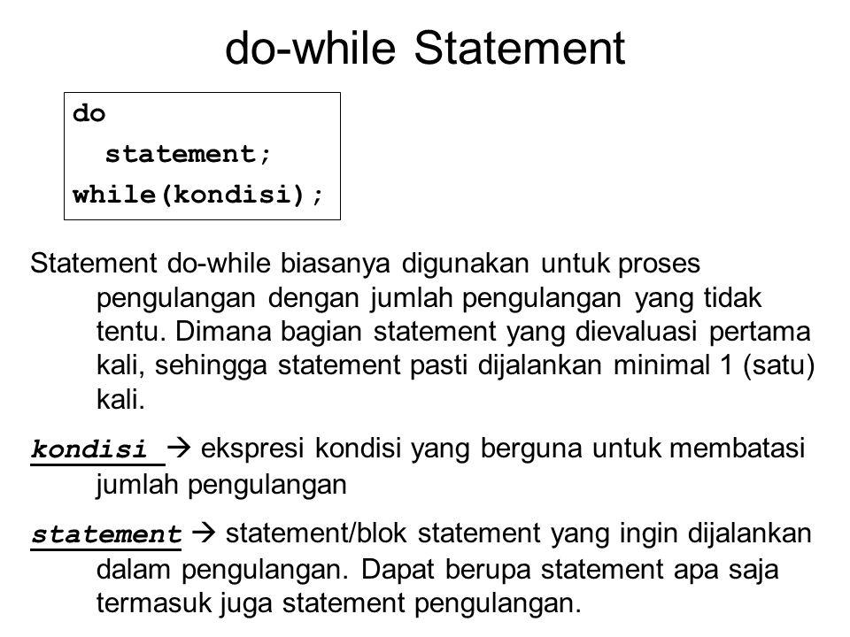 do-while Statement do statement; while(kondisi); Statement do-while biasanya digunakan untuk proses pengulangan dengan jumlah pengulangan yang tidak tentu.