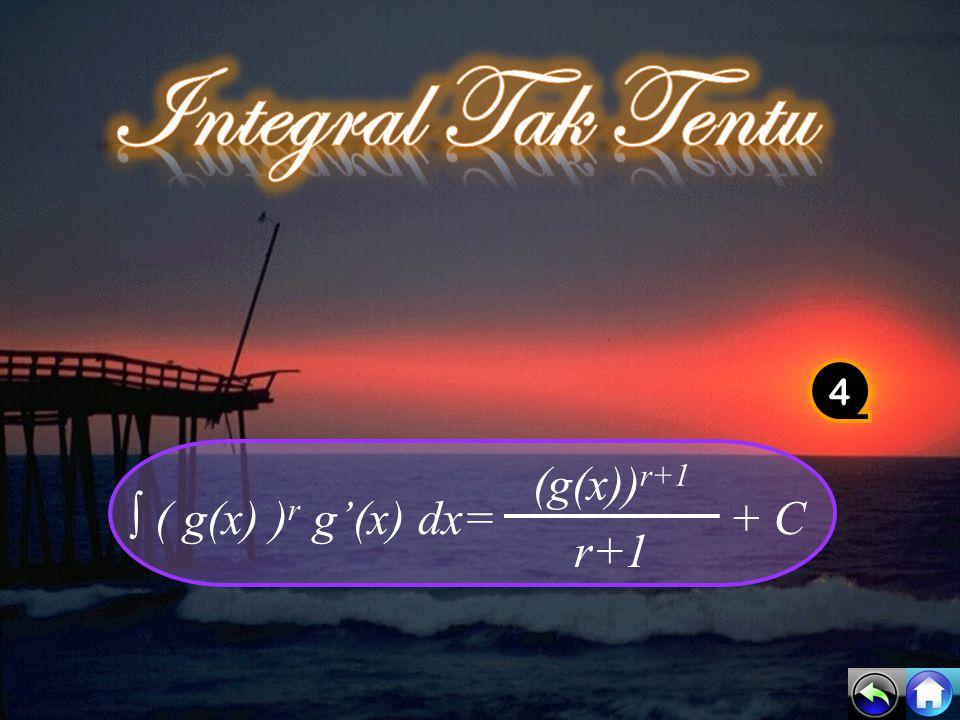 ♥ ∫ k f(x) dx = k ∫ f(x) dx ♥ ∫ [f(x) + g(x)] dx = ∫ f(x) dx + ∫ g(x) dx ♥ ∫ [f(x) – g x)] dx = ∫ f(x) dx – ∫ g(x) dx 3
