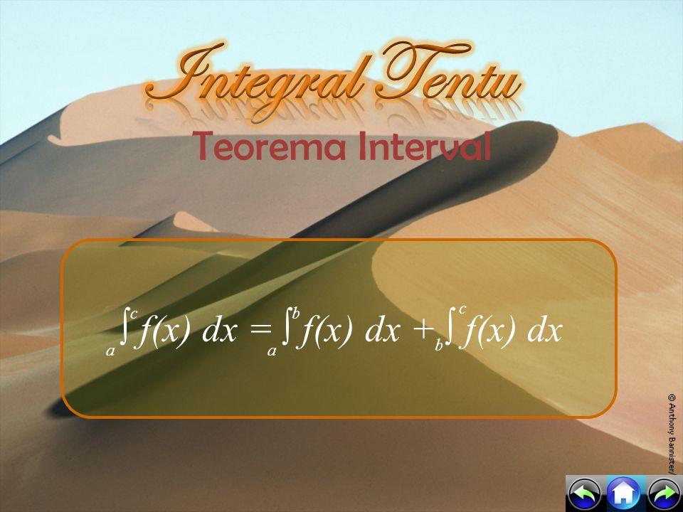 Teorema Perubahan ∫ k f(x) dx = 0 ∫ f(x) dx =- ∫ f(x) dx a a b a a b