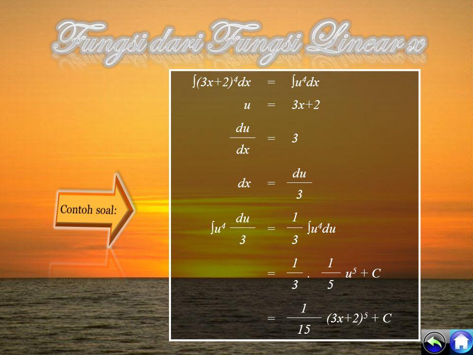 Variabel x digantikan oleh fungsi linear x dalam bentuk ax+b. y=∫ (3x+2) 4 dx y=∫ x 4 dx