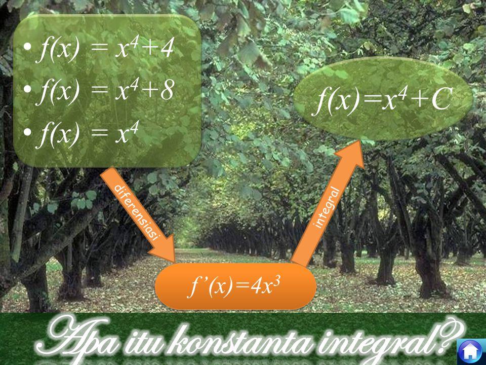 integral diferensiasi f (x) = x 4 +4 f (x) = x 4 +8 f (x) = x 4 f'(x)=4x 3 f(x)=x 4 +C