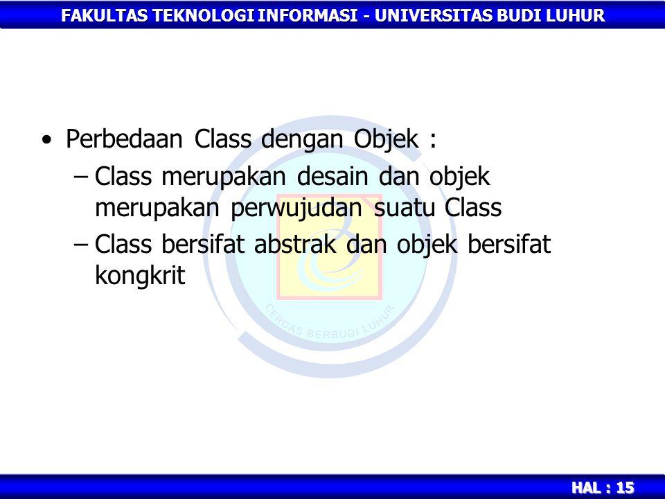 FAKULTAS TEKNOLOGI INFORMASI - UNIVERSITAS BUDI LUHUR HAL : 15 Perbedaan Class dengan Objek : –Class merupakan desain dan objek merupakan perwujudan s