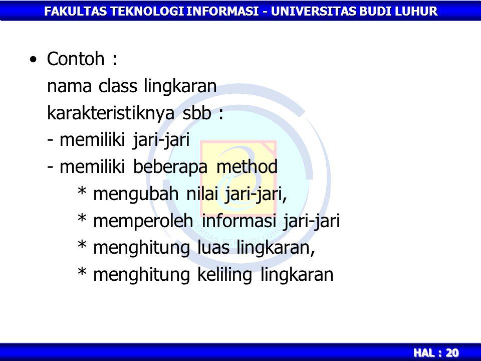 FAKULTAS TEKNOLOGI INFORMASI - UNIVERSITAS BUDI LUHUR HAL : 20 Contoh : nama class lingkaran karakteristiknya sbb : - memiliki jari-jari - memiliki be