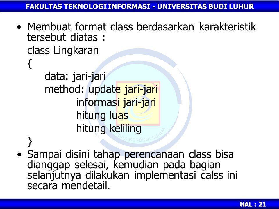 FAKULTAS TEKNOLOGI INFORMASI - UNIVERSITAS BUDI LUHUR HAL : 21 Membuat format class berdasarkan karakteristik tersebut diatas : class Lingkaran { data