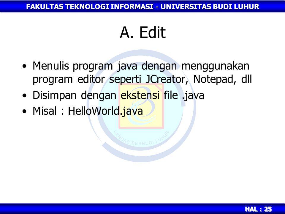 FAKULTAS TEKNOLOGI INFORMASI - UNIVERSITAS BUDI LUHUR HAL : 25 A. Edit Menulis program java dengan menggunakan program editor seperti JCreator, Notepa