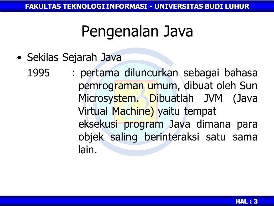 FAKULTAS TEKNOLOGI INFORMASI - UNIVERSITAS BUDI LUHUR HAL : 3 Pengenalan Java Sekilas Sejarah Java 1995: pertama diluncurkan sebagai bahasa pemrograma