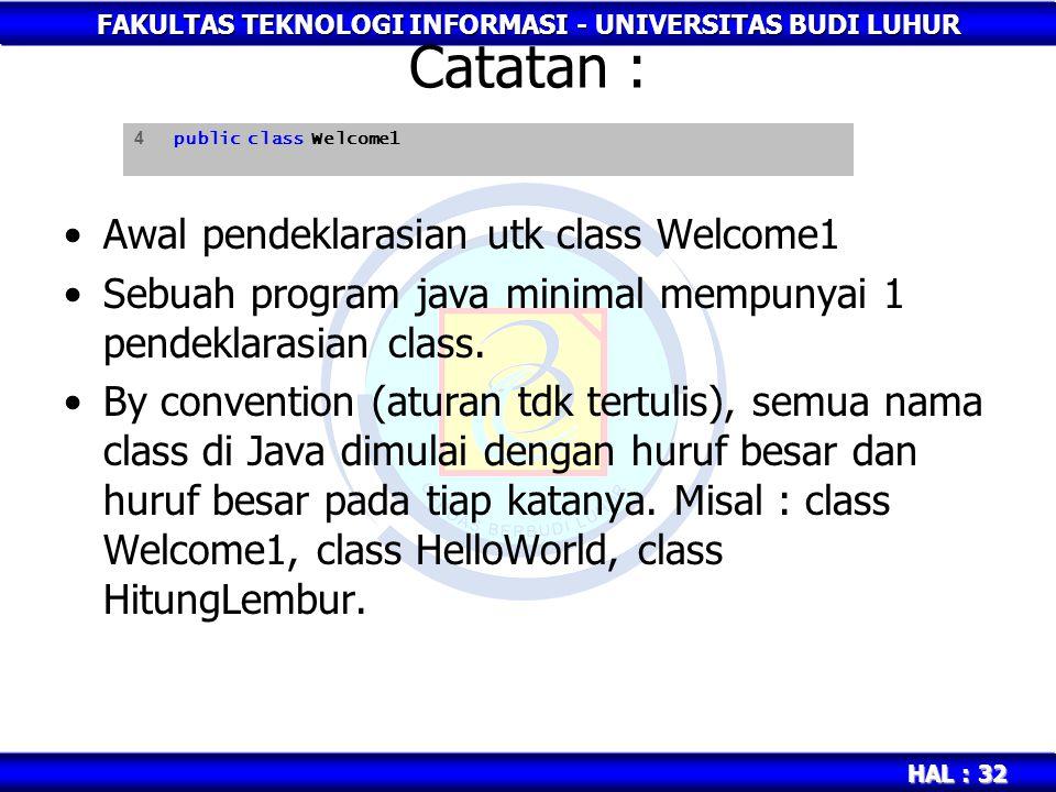 FAKULTAS TEKNOLOGI INFORMASI - UNIVERSITAS BUDI LUHUR HAL : 32 Catatan : Awal pendeklarasian utk class Welcome1 Sebuah program java minimal mempunyai