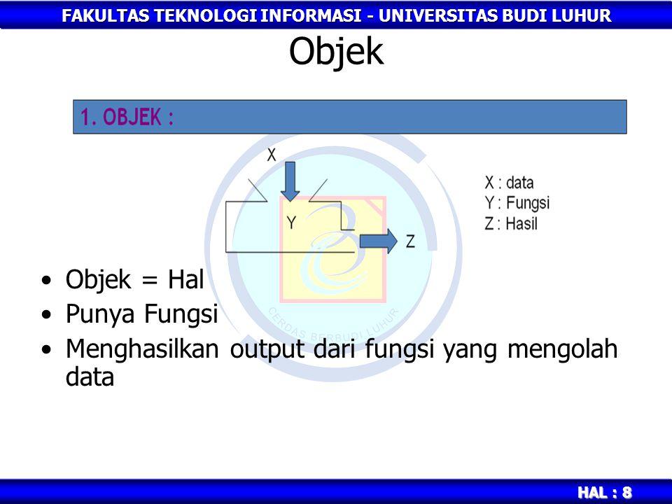 FAKULTAS TEKNOLOGI INFORMASI - UNIVERSITAS BUDI LUHUR HAL : 8 Objek Objek = Hal Punya Fungsi Menghasilkan output dari fungsi yang mengolah data