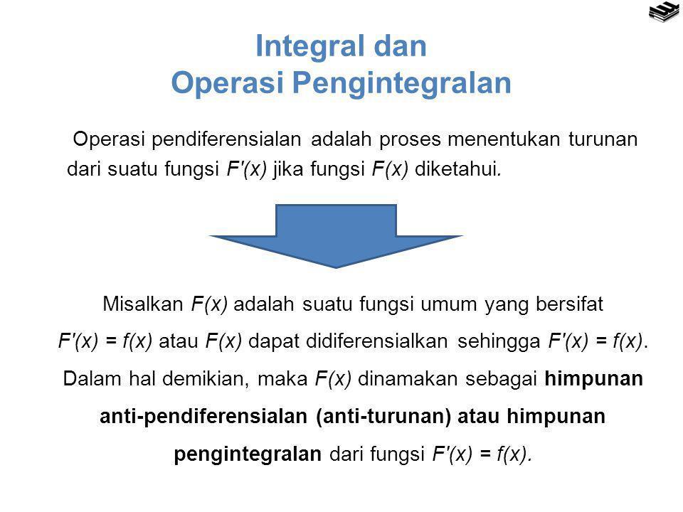 Notasi Integral dengan:  F(x) dinamakan fungsi integral umum dan F(x) bersifat F′(x) = f(x)  f(x) disebut fungsi integran  C konstanta real sembarang disebut sebagai konstanta pengintegralan